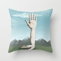 hands Throw Pillows featuring Hands by Bwiselizzy