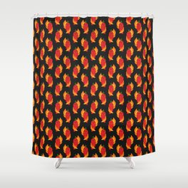 Red chili peppers and fire Shower Curtain