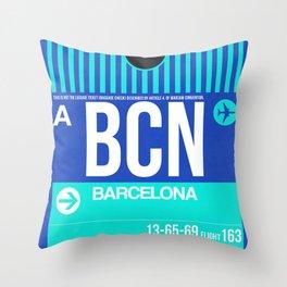 BCN Barcelona Luggage Tag 2 Throw Pillow