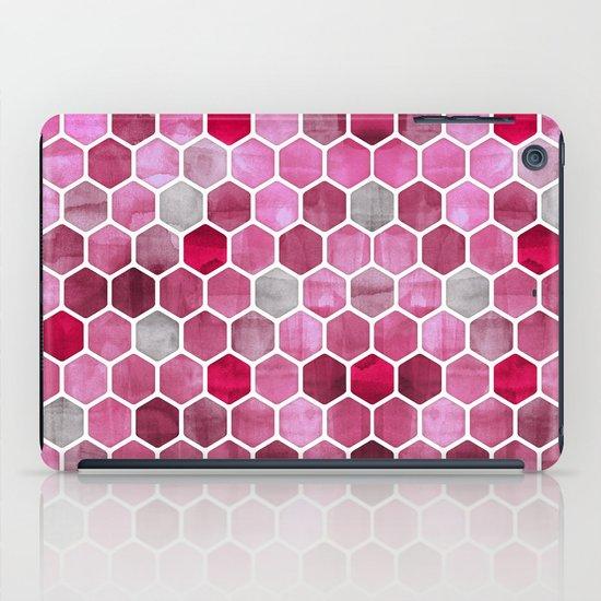 Pink Ink - watercolor hexagon pattern iPad Case