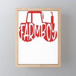 Farmer Gift Home Farm Boy Red Tractor Farming Gift Framed Mini Art Print