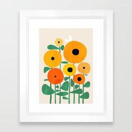 Sunflower and Bee Framed Art Print