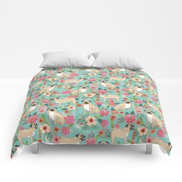 Pug floral dog breed must have gifts for pug lover pet pattern florals Comforters