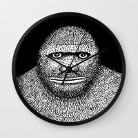 bigfoot Wall Clocks featuring Bigfoot by The Art of Filippo Borghi