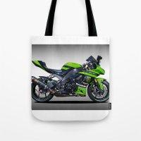 motorbike Tote Bags featuring Kawasaki Motorbike by cjsphotos