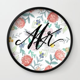 Mr. - Calligraphy + Watercolor Floral  Wall Clock