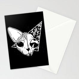 Half and half sphynx cat skull Stationery Cards
