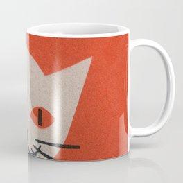 Retro White Cat Smoking a Pipe Coffee Mug