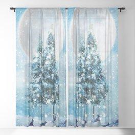 Winter Night 4 Sheer Curtain