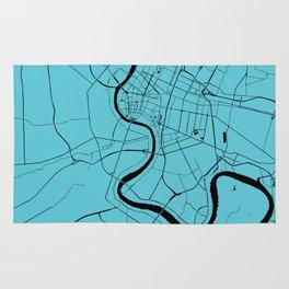 Bangkok Thailand Minimal Street Map - Turquoise and Black Rug