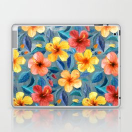 Colorful Watercolor Hibiscus on Grey Blue Laptop & iPad Skin