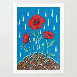 Poppies in the rain Art Print