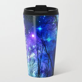 black trees purple blue space Travel Mug