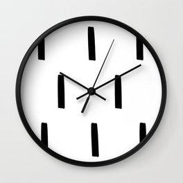 Black and White Dash Pattern Wall Clock
