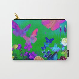 Green Butterflies & Flowers Carry-All Pouch
