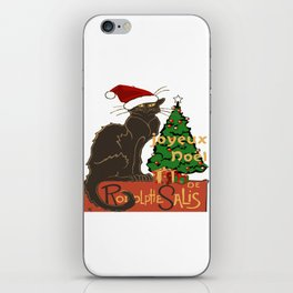 Joyeux Noel Le Chat Noir With Tree And Gifts iPhone Skin