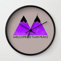 twin peaks Wall Clocks featuring TWIN PEAKS by Purple
