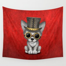 Steampunk Baby Wolf Cub Wall Tapestry