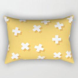 Modern Swiss Cross Yellow Rectangular Pillow
