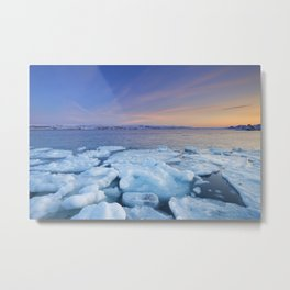 Ice floes at sunset, Arctic Ocean, Porsangerfjord, Norway Metal Print
