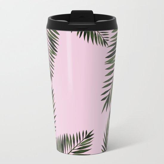 Watercolor tropical palm leaves pink Metal Travel Mug
