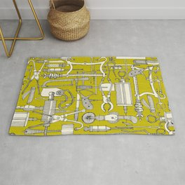 fiendish incisions chartreuse Rug