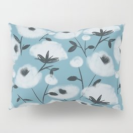Cotton Flowers on Blue Pattern Pillow Sham