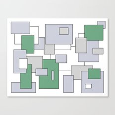 Squares - green, gray and white. Canvas Print