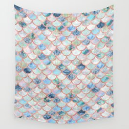 Mermaid Scales in Blue and Rose Gold Wall Tapestry