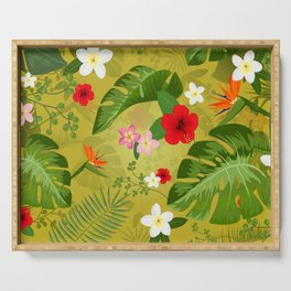 Tropical Flower Background 3 Serving Tray
