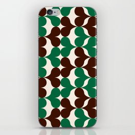 Retro heart pattern green & brown. iPhone Skin