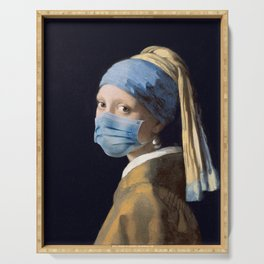Girl with a Pearl Earring with Mask Serving Tray