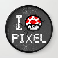 pixel art Wall Clocks featuring Pixel by eARTh