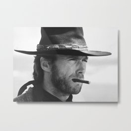 Clint Eastwood Smoking a Cigar Retro Vintage Art Metal Print