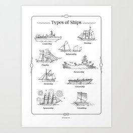 TYPES OF SHIPS Art Print