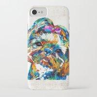 shih tzu iPhone & iPod Cases featuring Colorful Shih Tzu Dog Art By Sharon Cummings by Sharon Cummings