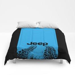 Jeep 'Tire-tracks' Surfblue Comforters