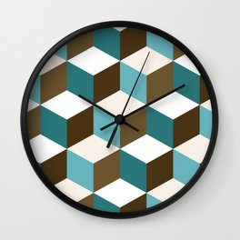 Cubes Pattern Teals Browns Cream White Wall Clock