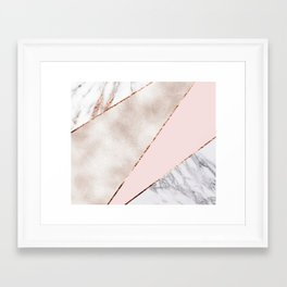 Spliced mixed rose gold marble Framed Art Print