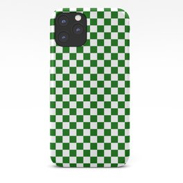 Small Checkered - White and Dark Green iPhone Case