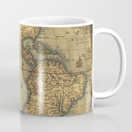Antique Map of North and South America 1570 Coffee Mug