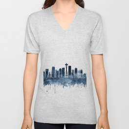 Seattle Skyline Watercolor Navy Blue by Zouzounio Art Unisex V-Neck