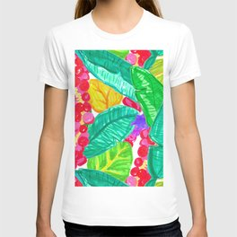 Illustrated Sea Grapes + Tropical Leaves T-shirt