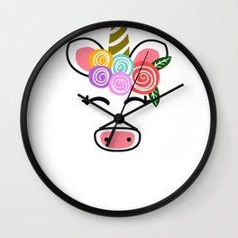 Floral Unicorn Unicorn Rosettes Wall Clock