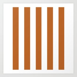 Ruddy brown - solid color - white vertical lines pattern Art Print