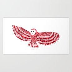 Red Barn Owl Beaut Art Print