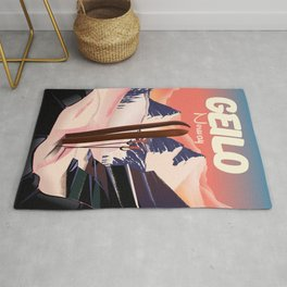 Geilo Norway beautiful vintage ski poster. Rug