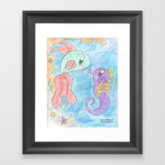 Flower Fish and Flower Seahorse Framed Art Print