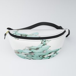 white silver turquoise marbled abstract digital painting Fanny Pack
