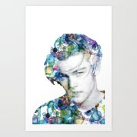 leonardo dicaprio Art Prints featuring Young Leonardo DiCaprio  by NKlein Design